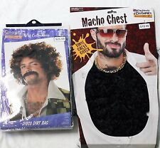 Mens Halloween Costume Accessories Wig & Chest Hair Disco Dirtball 70's Set NIP