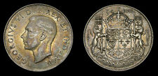 1943 Canada 50 Fifty Cent Piece George VI VF+ Error Die Break
