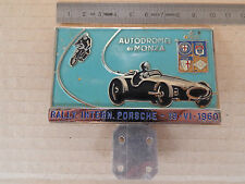 BADGE VINTAGE ORIGINALE 1960 RALLY PORSCHE A MONZA 356 904 ETC CARRERA
