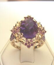 NEW FANCY AND ORNATE GENUINE CHECKERBOARD CUT AMETHYST RING 14KT SOLID GOLD