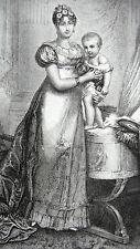GRAVURE ANCIENNE 19e - IMPERATRICE MARIE-LOUISE ET LE ROI DE ROME