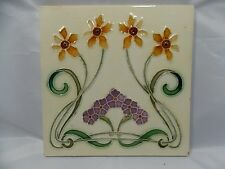Antique tube lined Majolica Tile England 1900s Art Nouveau