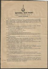 India WW2 propaganda leaflet 1944 about Food Hoarding & Food Rationing