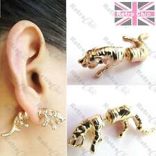 1pr BIG TIGER sabre cat FAKE EAR TUNNELS animal TUNNEL EARRINGS gold tone metal