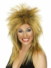 Womens Girls Tina Turner Rock Diva Wig Two Tone Ginger Black Long Mullet Icon