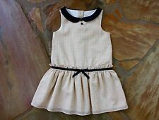 EUC Janie and Jack Houndstooth Dress 2 2T Girls Brown White Black LN