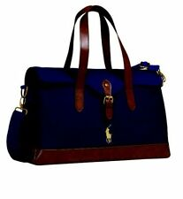 BRAND NEW GENUINE RALPH LAUREN POLO SATCHEL TRAVEL HOLDALL CASE BAG NAVY & BROWN