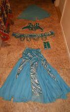 belly dance professional costume, halloween costume, turquoise/baby blue