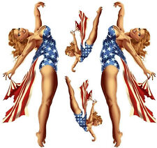Aufkleber Set USA Pin Up Girl Sticker 26x10 cm Blond Busen Sexy XL