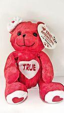 "TRUE  Love Bear Red Beanbag Plush - Magnetic Hands  - 5"" tall - ribbon on head"