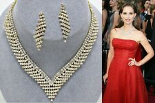 New Women Fashion Celebrity Inspired Gold Tennis Necklace Set Bridal/Evening
