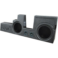 """QBomb Rhino Lined Dual 10"""" SubWOOFER Sub Speaker BOX Ported Vented Behind Seat"""