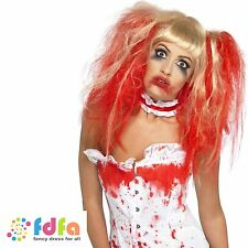 BLONDE BLOOD DRIP BUNCHES WIG ZOMBIE NURSE - halloween womens ladies fancy dress