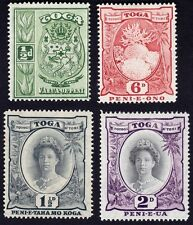 TONGA 1935-42 small lot of 4 MH 1 1/2d is wmk. multi tortoise, rest MSCA @E2211