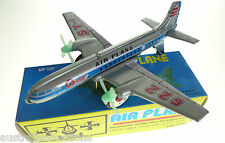 TIN TOY AIRPLANE FRICTION MOTOR PROPELLERS TURN AS THE PLANE GOES