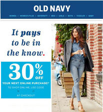 Old Navy 30% off Coup0n/Code. Valid on sale and clearance items. Exp 04/01/2017