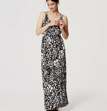 NWT ANN TAYLOR LOFT Sunwashed Floral Maxi DRESS XS Clarion Blue 20 Brown $79.50