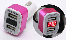 Dual USB Car Cigarette Charger W/ LED Display Volt Amp Meter 5V 2A Pink