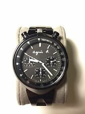 Agnes B V655-7010 Bullhead Chronograph Quartz Watch Black Seiko MADE IN JAPAN