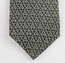 NEW Authentic GUCCI Silk Neck Tie w/Horsebit Print, Green/White, 255593 3277