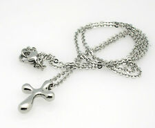 Stainless Steel Catholic Cross Pendant Necklace High Polish Non-Tarnish NEW