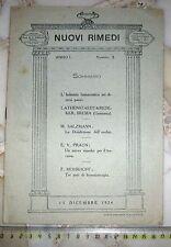 Periodico Mensile Medico NUOVI RIMEDI del 1924 edito a cura della Casa Wenner