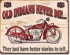 Antique Style First Motorcycle Tin Sign Old Indian Biker Retro Wall Decor USA16""