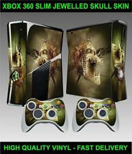 XBOX 360 SLIM CONSOLE STICKER JEWELLED SKULL SKIN GRAPHICS & 2 CONTROLLER SKINS