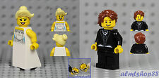 LEGO - Bride & Groom Minifigure Wedding Dress Necklace Ring Tuxedo Cake Topper A