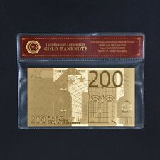 European Union Unique Note 200 Euro 99.9 24k Real Gold Banknote Free COA Sleeve