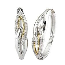 Andrea Candela 18k Gold & Silver Twisted Cable Diamond Hoop Earrings ACE330/13