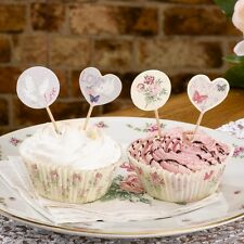 WITH LOVE CAKE PICKS/Cupcake/Canape Sticks - Vintage Wedding/Anniversary Party