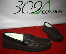 Mens Dark Brown XL 12 13 Genuine Leather Moccasin Loafer Slippers