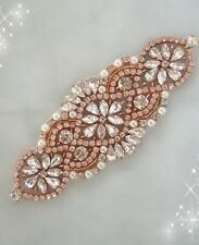 50% OFF Rose Gold Rhinestone Applique / Bridal Applique / Pearl and Rhinestone