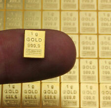 Lingot or 1 gramme or pur 24 carats 999/1000 gold bar 1 gr