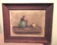 antique original still life fruit Pinic oil painting on board realism framed