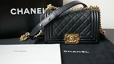 NEW AUTHENTIC CHANEL SMALL BLACK BOY BAG IN LAMBSKIN LEATHER WITH GOLD HARDWARE