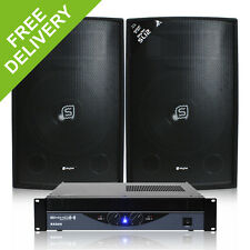 "2x Skytec 12"" Party Speakers Amp Home Studio DJ System Disco PA Amplifier 1200W"