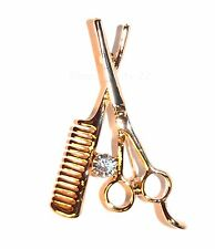 Gold Scissors & Comb Brooch Stylist Hairdresser Crystal Hair Barber Pin Gift