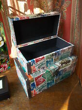 OLD VINTAGE STYLE WOOD STORAGE PORT POSTAGE STAMP FABRIC BOX BOXES BEDROOM