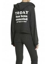 NWT WILDFOX Today Has Been Canceled Zip Hood Fuzzy Stretch Sweatshirt S