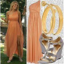 MARCHESA Peach Silk One Shoulderl Embellished Ruched Ball Gown Sz 4