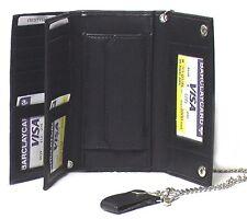 Men's Tri-fold Genuine Cowhide Leather Biker / Truckers' Wallet Black #4695 CAN