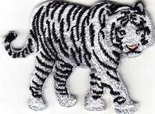 WHITE TIGER - WILD ANIMAL - ZOO & JUNGLE ANIMALS - Iron On Embroidered Patch
