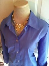 IZOD Shirt XL Women's 3/4 Cuffed Sleeve Button Down Oxford Blue Career