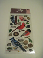 Scrapbooking Crafts Stickers Sticko Top US Birds Cardinal Dove Blue Jay Nests