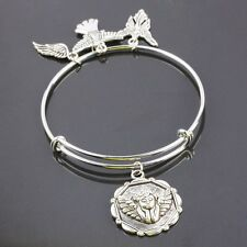 Tibetan Silver Angel Wings Charms Dangle Pendant Bead Adjustable Bracelet Bangle