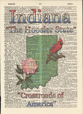 Indiana State Map Symbols Altered Art Print Upcycled Vintage Dictionary Page