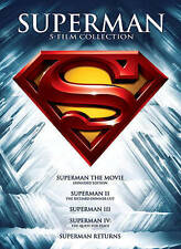 NEW 5 FILM 5 DVD SET SUPERMAN 1 W/UV 2 3 4 5 RETURNS FREE FAST 1ST CLS S&H