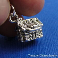 Silver LOG CABIN CHARM Rustic House Country Ranch PENDANT